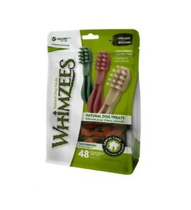 Whimzees Toothbrush Extra Small 48 Pack - Vegetarian Gluten Free Dog Chews