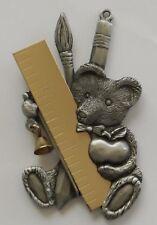 Christmas Ornament Pewter TEDDY for TEACHER or ARTIST / Painter Xmas Decoration