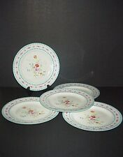 Wedgwood Salad Plates Blue Trim Pink Flowers Hand Painted Set 5 C. 1900's