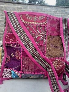"HANDMADE INDIAN BOHO PATCHWORK,EMBROIDERED MIRRORED SHOULDER BAG13""x13.5"" £14.95"