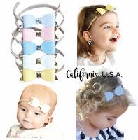 California Tot 2 Retro Baby Toddler Turban Bow Pre Bun Knot Bun Headband