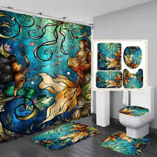 Mermaid Sisters Blue Shower Curtain Bath Mat Toilet Cover Rug Bathroom Decor