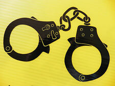 handcuffs stickers police restraints /car/van/bumper/window/decal 5298 Black