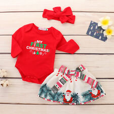 0-3M Newborn Baby Boy Girl First Christmas Clothes Romper Skirts Headband Outfit