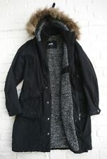 SCHOTT NYC BESSIE BLACK SHERPA FLEECE LINED FUR TRIM HOODED PARKA COAT XS 6 8