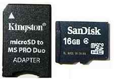 SANDISK 16GB MICRO SD + PRO DUO ADAPTER FOR PSP E1000 E1003 1000 2000 3000 3001