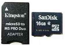 16GB MICRO SD CLASS 10 + PRO DUO ADAPTER FOR PSP E1000 E1003 1000 2000 3000 3001