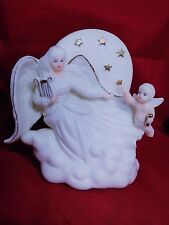 "Angel With Cupid Figurine Ceramic Sculpered in Glazed Night Light 6.5"" Tall"