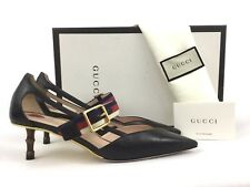 e738f6d5f3c Gucci Unia Stripe Bamboo Heel Black Leather Pump 36 6