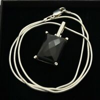 925 Sterling Silver Faceted Onyx Set Pendant & Snake Chain Necklace