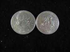 1947 & 1948 MEXICO UN PESO XF 2 COINS .500 FINE SILVER CONTENT