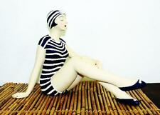 Bathing Beauty Figurine in Navy & White Stripe Suit with Knees Up Shelf Sitter