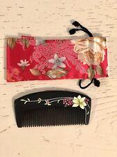 Carpenter Tan Black Wood Comb & Silk Storage Pouch