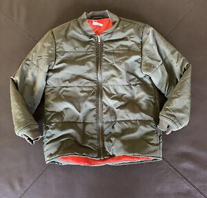 Crazy 8 Olive Green Orange Lining Puffer  Baseball Jacket Fall Size Medium 7/8