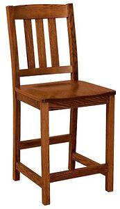 "Amish Arts & Crafts 24"" Stationary Counter Height Bar Stool Set (3) Lodge"