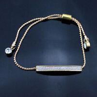 Women Fashion Jewelry Gold Silver Plated Crystal Rhinestone Bar Chain Bracelet