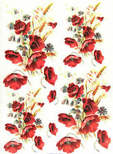 Rice Paper for Decoupage, Scrapbook Sheet, Craft Paper Poppy