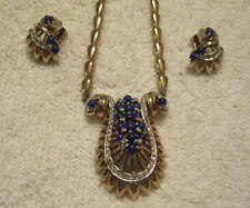 Vintage Gold Plate Blue with Rhinestones Reja Necklace & Earrings