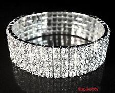 Silver Tone Crystal Clear Diamonte / Diamante 5 Row Stretchy Bracelet - NEW!!