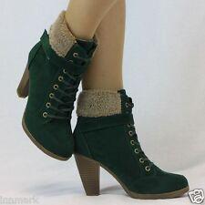 970 Komfort Stiefeletten Vlies Kragen Schnüren Blockabsatz Schuh Stiefel Größe UK 4 - 8