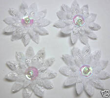 30 White 34mm Sequin Beaded Lace Daisy Flower Sewing Appliques for Wedding