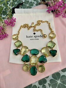 STUNNING Kate Spade Vegas Jewels FACETED Cluster Emerald Green Hues Bib Necklace