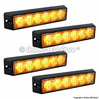 4pc 6W Amber LED Strobe Warning Grille Lights for Cars Trucks Emergency Vehicles