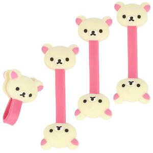 4x Kabelbinder für Kopfhörer, Kabelhalter und Kabelmanager, Bärkopf, creme/rosa