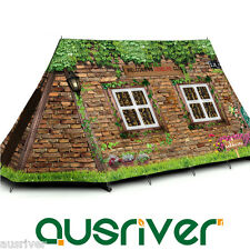 3-4 Person Double Layer Cabin Pattern Family Camping Tent Hiking Music Festival