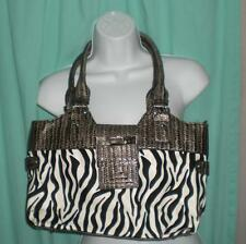 """ZEBRA STRIPED FULLY LINED LADIES ZIP CLOSURE PURSE 10""""X15""""X5 BEAUTIFUL PRE-OWNED"""