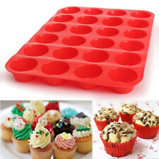 24 Cavity Mini Muffin Silicone Soap Cookies Cupcake Bakeware Pan Tray Mould RED