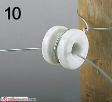 PORCELAIN ROUND REEL INSULATOR 10 PACK - ELECTRIC FENCE WIRE POLY TAPE CORNER