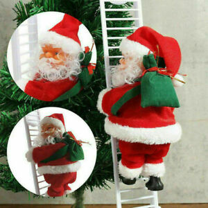 Electric Climbing Ladder Santa Claus Christmas Music Figurine Party Decor Gift