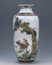 Chinese Famille Rose Porcelain painted Shepherd boy Vase W Qianlong Mark