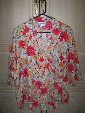 Womens Plus California Connections Red Hibiscus Flower Shirt Blouse 22 42 3x