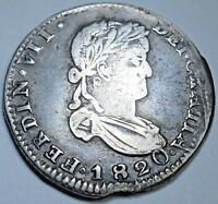 1820 XF-AU Z AG Spanish Mexico 2 Reales Zacatecas Silver Two Real Colonial Coin