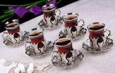 (SET OF 6) Traditional Turkish Tea Glasses Holders Serving Cups Saucers Set