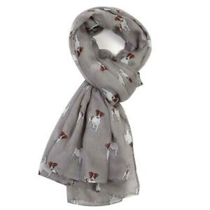 NEW Jack Russell Print Large Oversized Grey Scarf Shawl