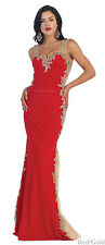 STRETCHY EVENING FORMAL DANCE PROM GOWN RED CARPET GALA PAGEANT DESIGNER DRESSES