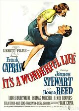 Its A Wonderful Life James Stewart Vintage Cinema Movie Poster Print Picture A4