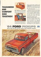 VTG 1964 Ford Pick Up Print Ad 1963 Magazine Color Advertisement Red Truck Tough