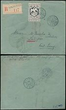 FRENCH CONGO 1943 REGISTERED LIBREVILLE..2F BIRD SOLO to TCHAD.Triple Censor AEF