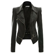 Women's NEW Stylish Slim Fit Motorcycle PU Leather Bike Jacket Coat Outerwear