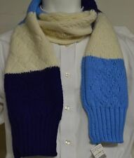 NWT! Drakes London Lambswool/Angora Light Blue Navy Ivory Striped Scarf DLS01