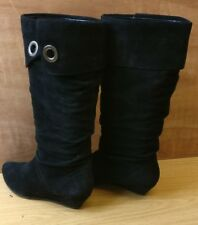 OFFICE LONDON WOMEN BLACK LEATHER SUEDE WEDGE KNEE HIGH BOOTS SHOES SIZE UK 3 36