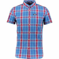 SUPERDRY Men's Blue & Red Checked Short Sleeve Shirt UK, size Small
