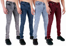 MENS ACID WASH JEANS SUPER SKINNY STRETCH PUNK RETRO VINTAGE DENIM  by AD