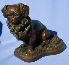 """Bronze Pekingese Tibetan Spaniel 8"""" bookend door stop dog"""
