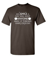 An Apple A Day Will Keep Anyone Away If Thrown Hard Enough Funny Tshirts