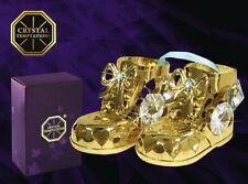 Swarovski Crystal Element Studded Baby Boy Bootie Pair Figurine 24K Gold Plated